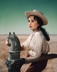 Elizabeth Taylor in the movie Giant.  She always had great cowgirl hair.