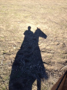 Winter shadows of me and Ranger.